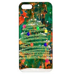 Watercolour Christmas Tree Painting Apple Iphone 5 Hardshell Case With Stand by Simbadda