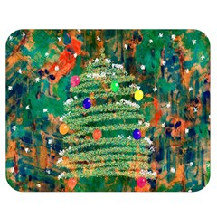 Watercolour Christmas Tree Painting Double Sided Flano Blanket (medium)  by Simbadda