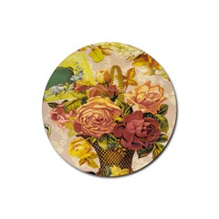 Victorian Background Rubber Round Coaster (4 Pack)  by Simbadda