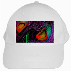 Peacock Feather Rainbow White Cap by Simbadda