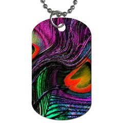 Peacock Feather Rainbow Dog Tag (one Side)