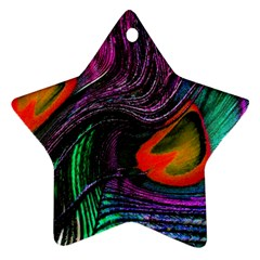 Peacock Feather Rainbow Star Ornament (two Sides) by Simbadda