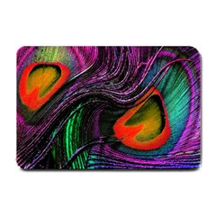 Peacock Feather Rainbow Small Doormat  by Simbadda