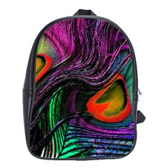 Peacock Feather Rainbow School Bags(large)
