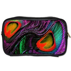 Peacock Feather Rainbow Toiletries Bags by Simbadda