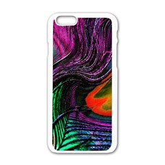 Peacock Feather Rainbow Apple Iphone 6/6s White Enamel Case by Simbadda