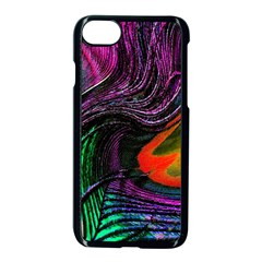 Peacock Feather Rainbow Apple Iphone 7 Seamless Case (black) by Simbadda