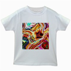 Colourful Abstract Background Design Kids White T Shirts by Simbadda