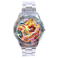 Colourful Abstract Background Design Stainless Steel Analogue Watch by Simbadda