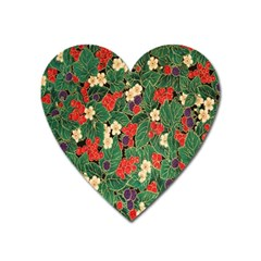 Berries And Leaves Heart Magnet by Simbadda