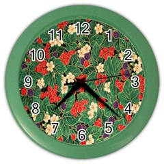 Berries And Leaves Color Wall Clocks by Simbadda