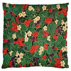Berries And Leaves Large Cushion Case (one Side) by Simbadda