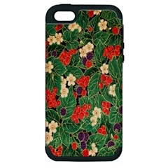 Berries And Leaves Apple Iphone 5 Hardshell Case (pc+silicone) by Simbadda
