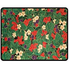 Berries And Leaves Double Sided Fleece Blanket (medium)  by Simbadda