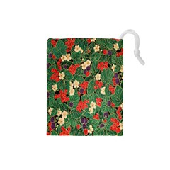 Berries And Leaves Drawstring Pouches (small)