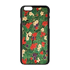 Berries And Leaves Apple Iphone 6/6s Black Enamel Case by Simbadda