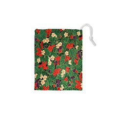 Berries And Leaves Drawstring Pouches (xs)  by Simbadda