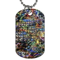 Multi Color Peacock Feathers Dog Tag (one Side)