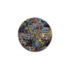Multi Color Peacock Feathers Golf Ball Marker (4 Pack) by Simbadda