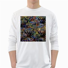 Multi Color Peacock Feathers White Long Sleeve T Shirts