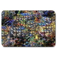Multi Color Peacock Feathers Large Doormat  by Simbadda