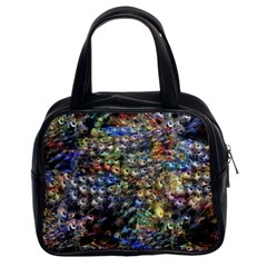 Multi Color Peacock Feathers Classic Handbags (2 Sides) by Simbadda
