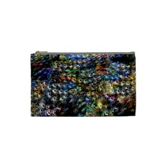 Multi Color Peacock Feathers Cosmetic Bag (small)  by Simbadda