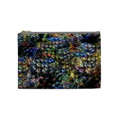 Multi Color Peacock Feathers Cosmetic Bag (medium)  by Simbadda