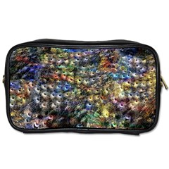 Multi Color Peacock Feathers Toiletries Bags 2 Side by Simbadda