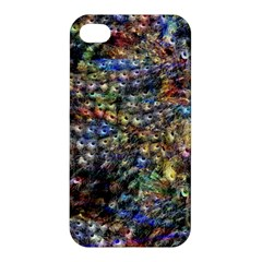 Multi Color Peacock Feathers Apple Iphone 4/4s Hardshell Case by Simbadda