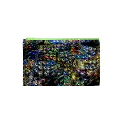 Multi Color Peacock Feathers Cosmetic Bag (xs) by Simbadda