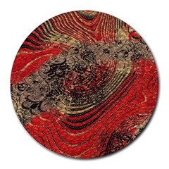 Red Gold Black Background Round Mousepads by Simbadda