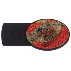 Red Gold Black Background Usb Flash Drive Oval (2 Gb)
