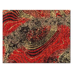 Red Gold Black Background Rectangular Jigsaw Puzzl by Simbadda