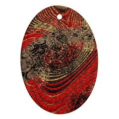 Red Gold Black Background Oval Ornament (two Sides) by Simbadda