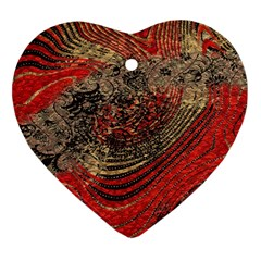 Red Gold Black Background Heart Ornament (two Sides)