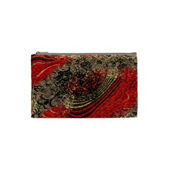 Red Gold Black Background Cosmetic Bag (small)  by Simbadda