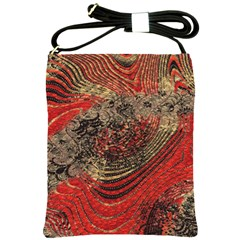 Red Gold Black Background Shoulder Sling Bags by Simbadda
