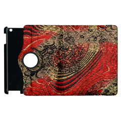 Red Gold Black Background Apple Ipad 2 Flip 360 Case by Simbadda