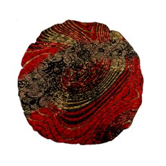 Red Gold Black Background Standard 15  Premium Round Cushions by Simbadda