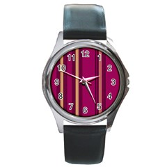 Stripes Background Wallpaper In Purple Maroon And Gold Round Metal Watch