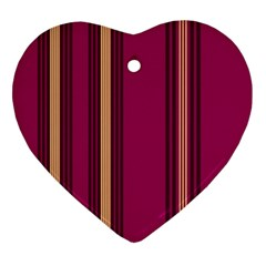 Stripes Background Wallpaper In Purple Maroon And Gold Ornament (heart) by Simbadda