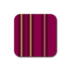 Stripes Background Wallpaper In Purple Maroon And Gold Rubber Coaster (square)  by Simbadda