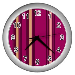 Stripes Background Wallpaper In Purple Maroon And Gold Wall Clocks (silver)