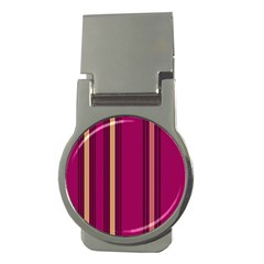 Stripes Background Wallpaper In Purple Maroon And Gold Money Clips (round)  by Simbadda