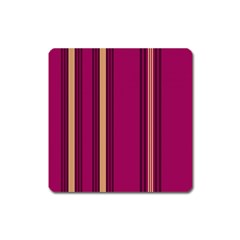 Stripes Background Wallpaper In Purple Maroon And Gold Square Magnet by Simbadda