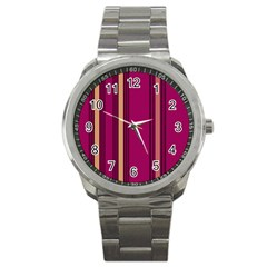 Stripes Background Wallpaper In Purple Maroon And Gold Sport Metal Watch by Simbadda