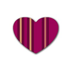 Stripes Background Wallpaper In Purple Maroon And Gold Heart Coaster (4 Pack)  by Simbadda