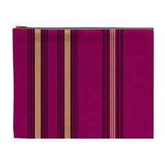 Stripes Background Wallpaper In Purple Maroon And Gold Cosmetic Bag (xl) by Simbadda