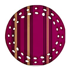 Stripes Background Wallpaper In Purple Maroon And Gold Ornament (round Filigree)